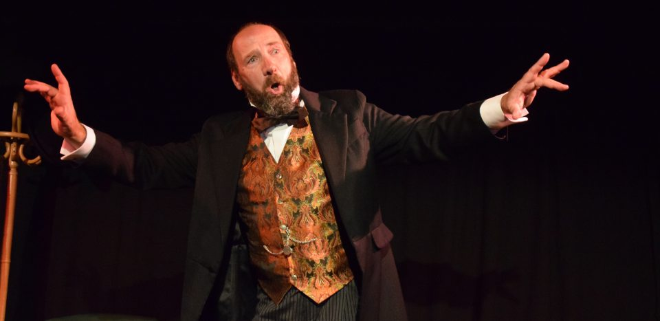 Gerald Dickens in action during a performance of A Christmas Carol